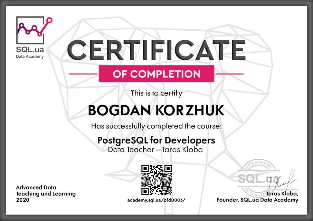 Bogdan Korzhuk SQLua Data Academy Certificate