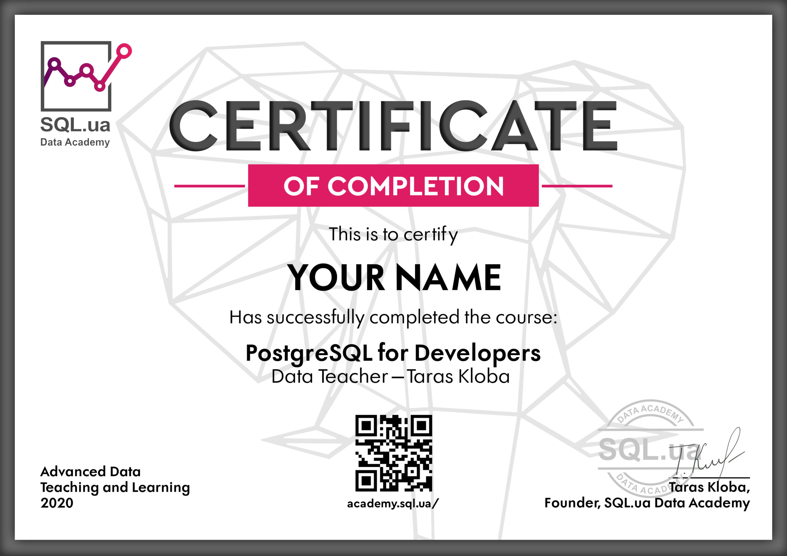 Certificate Postgre SQL for Developers